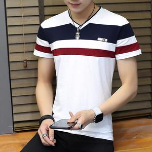 夏季t恤男短袖時尚V領緊身拼接青年半袖潮修身男士體恤601