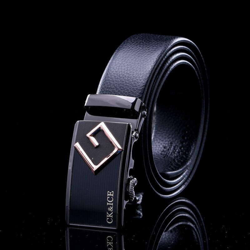Los hombres CK&ICE cierre automático de letras adolescentes cinturón con hebilla de cinturón de cuero salvaje de los hombres de negocios la personalidad...