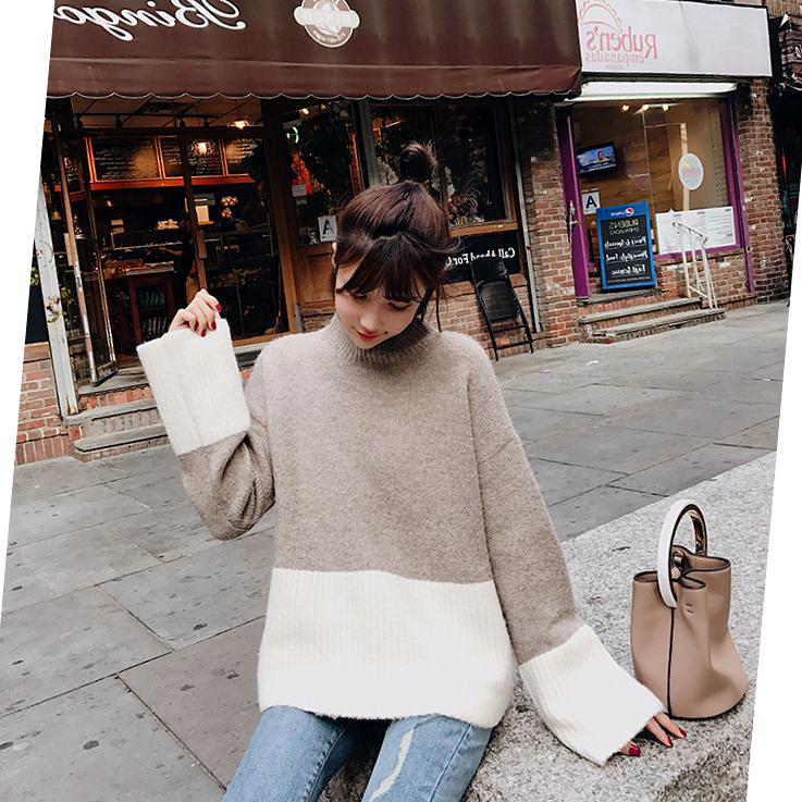BIGKING Daikin дома 2017 новый старший чувство двойной цвет мозаика шикарный свитер женщины слабее большой рукава