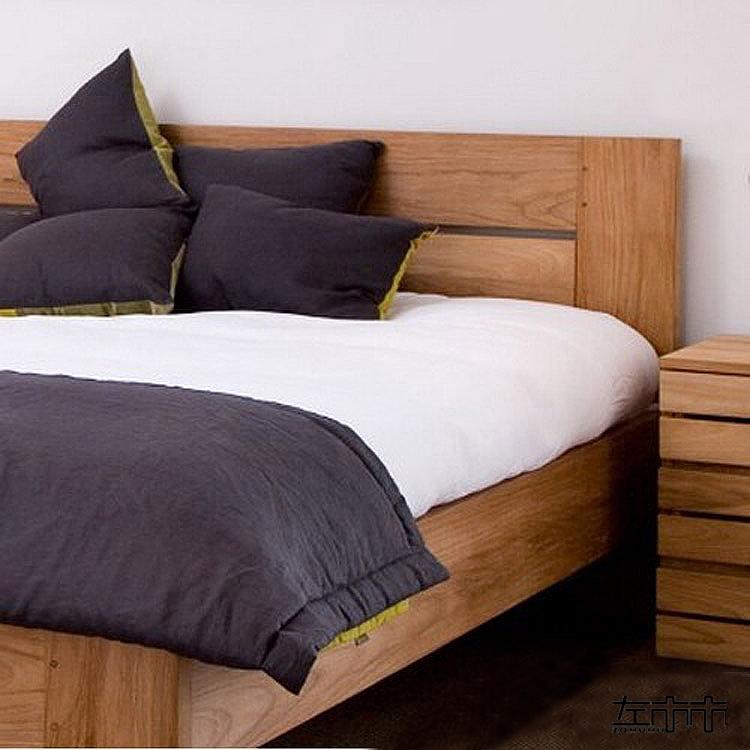 Zuo Mumu furniture red oak black walnut wood double bed full original simple [autumn] thick bed