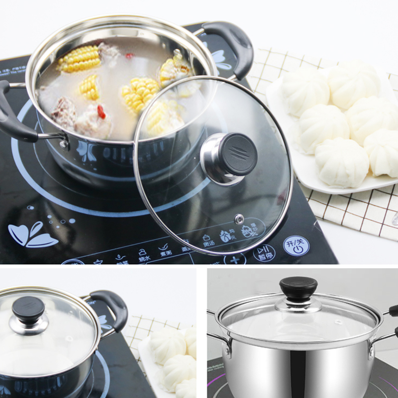 Stainless steel small steamer Mini 2 layer composite bottom non stick milk pot pot pot noodle cooking pot with electromagnetic oven