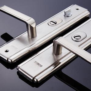 门锁304防盗门拉手加厚实心拉手不锈钢面板防盗门把手单活通用型