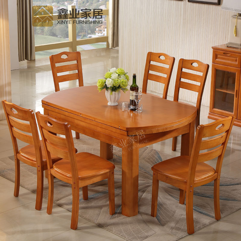 Solid wood table and chair combination, round 6 person small apartment, simple modern dining table, folding oak flexible dining table
