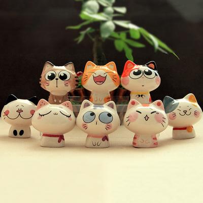 呆萌可爱猫咪桌面小摆件陶瓷创意生日礼物客厅装饰家居饰品工艺品