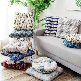 棉麻坐垫 秋冬加厚现代简约保暖餐椅垫座垫地板垫蒲团垫圆形方形
