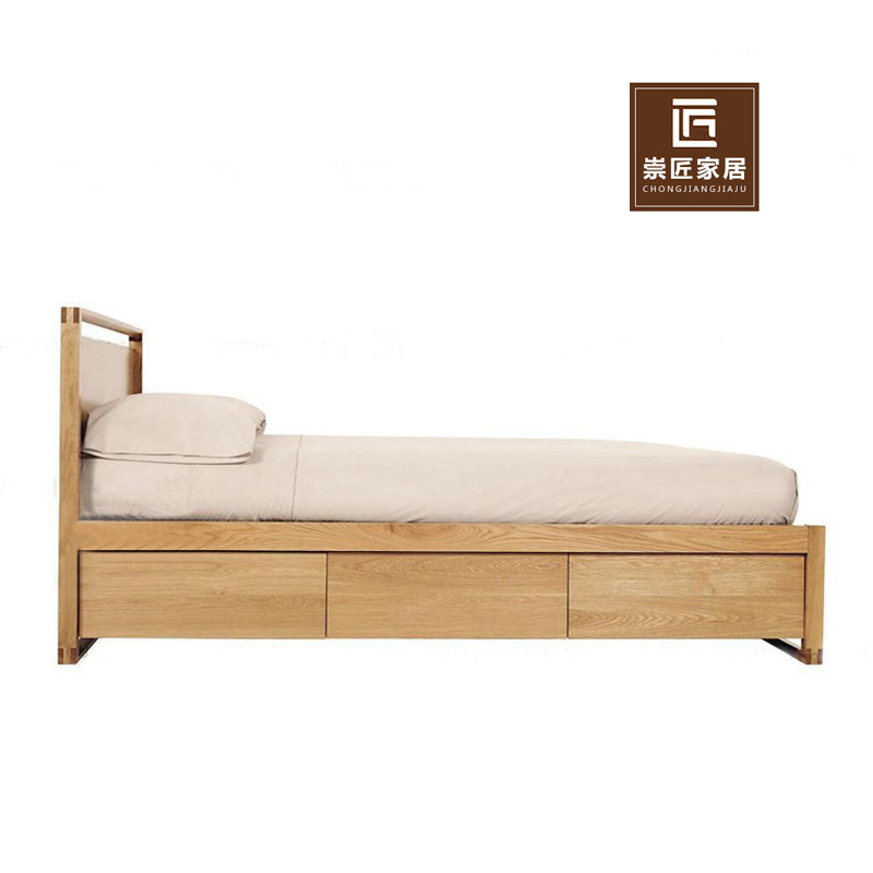 Nordic all solid wood 1.51.8 meters single double oak bed, Japanese simple drawer, high box storage bed Furniture Customization