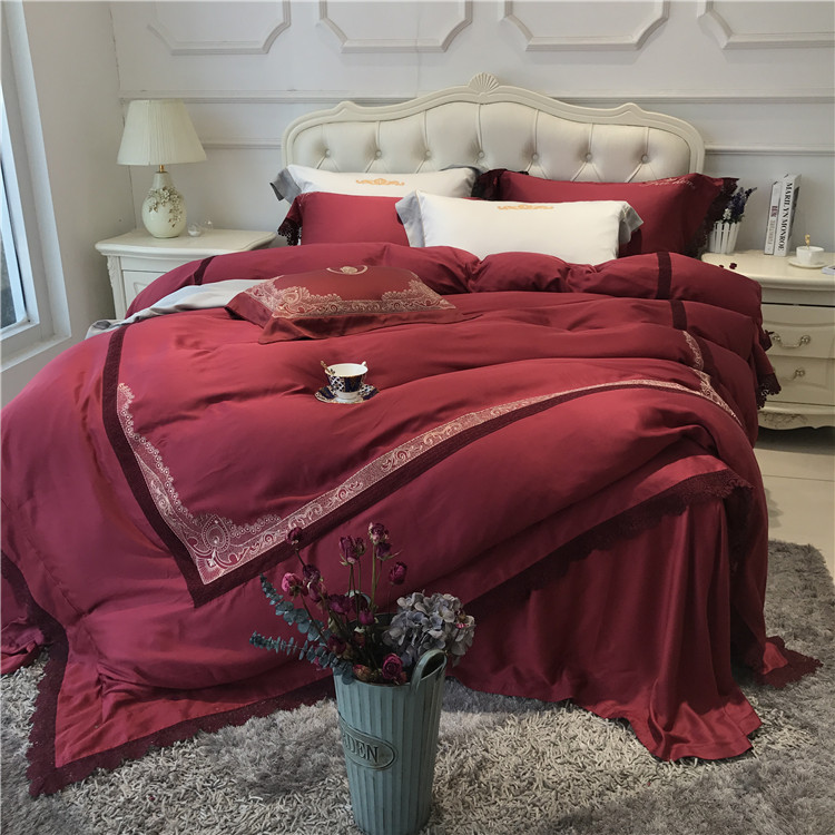 Export four sets of 80 double-sided embroidery 1.8m Tencel quilt 4 sets of bedding sheets naked