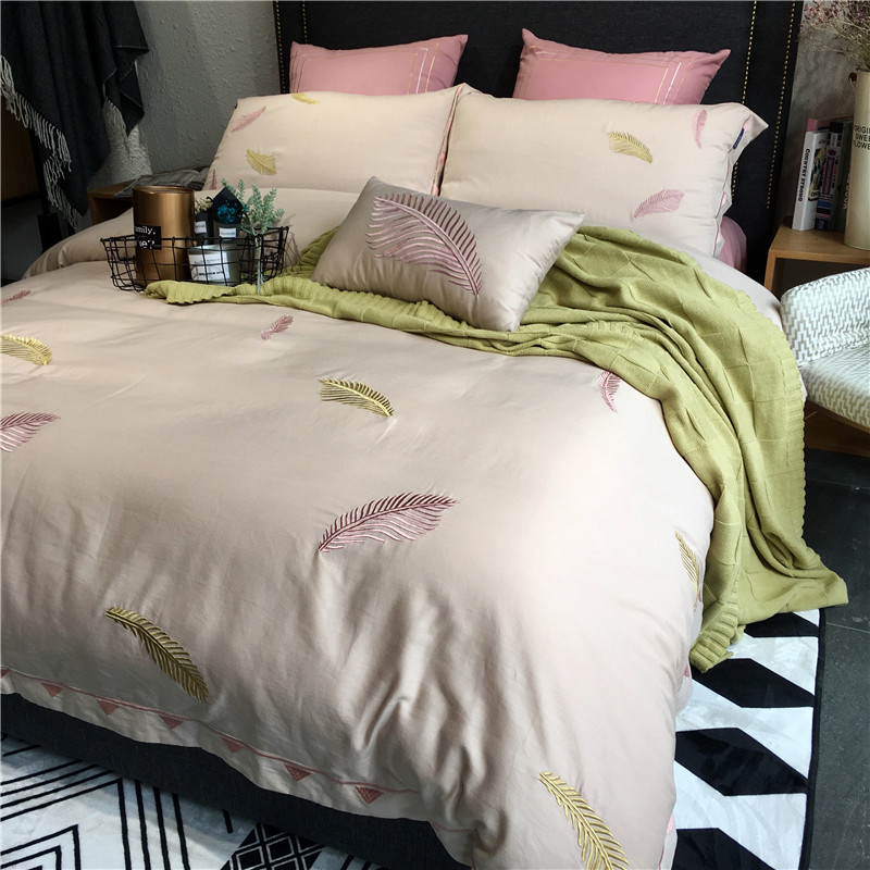 Spring and summer cool feeling Tencel four sets of European high-grade cotton embroidery embroidery plain geometric double bedding