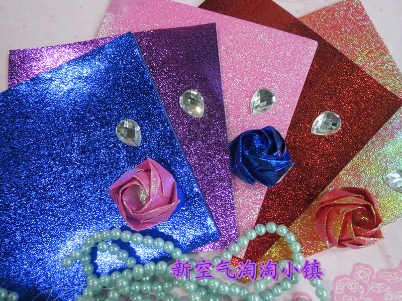 Special DIY origami rose pearlescent paper rainbow paper origami rose rose Kawasaki non finished materials