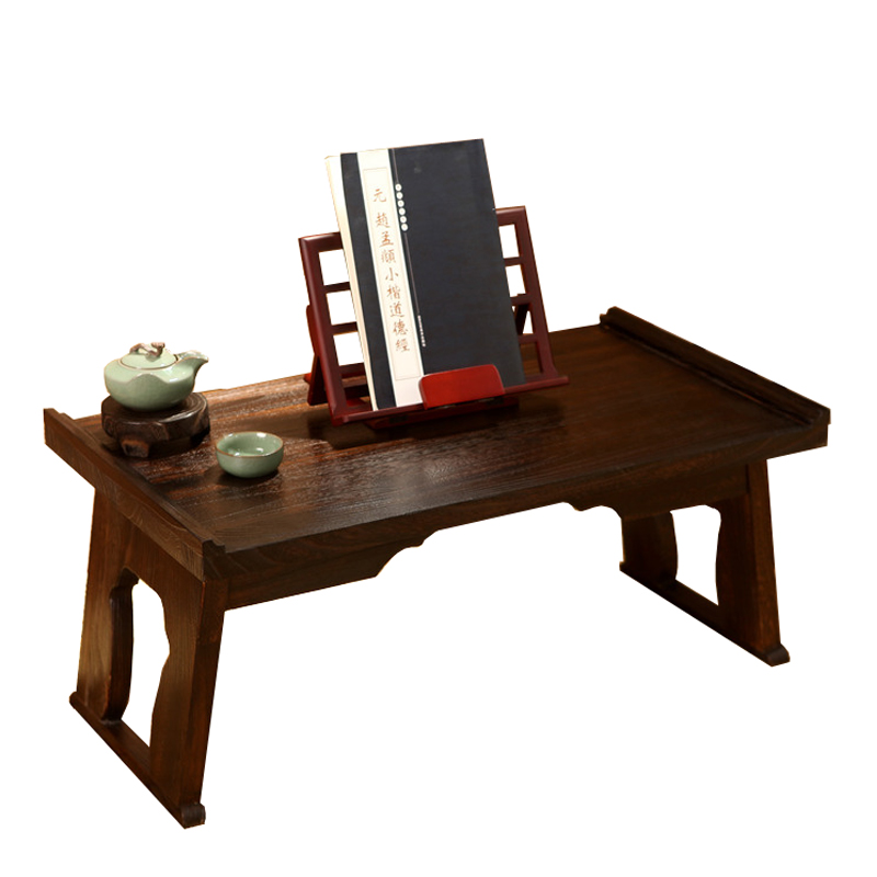 Solid wood table small tea table bed tatami folding desk computer desk Japanese table Kang several windows