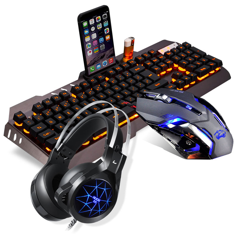Wired true mechanical feel, keyboard, mouse, earphone, two pieces, three piece set, luminescent game, metal computer