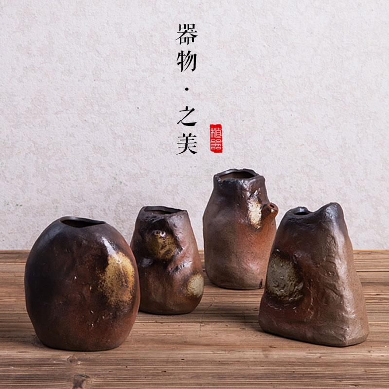 歲月*仿古石花器天天特價素造禪意桌面擺件干花插陶瓷花瓶家居小水培花器仿古花器
