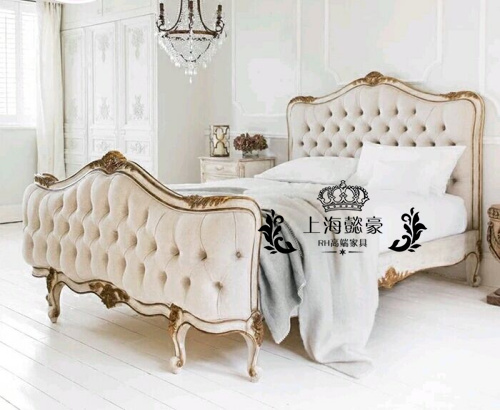 American neo classical carved wood double bedroom soft bed Jane retro French hotel furniture exports