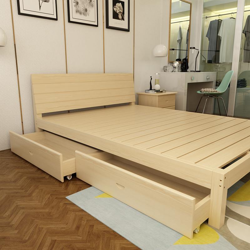 木造床ダブルベッドの枠1 . 8メートルの簡易松木床1 . 5 m子供用ベッドいちメートルシンプル1 . 2メートルのシングルベッド