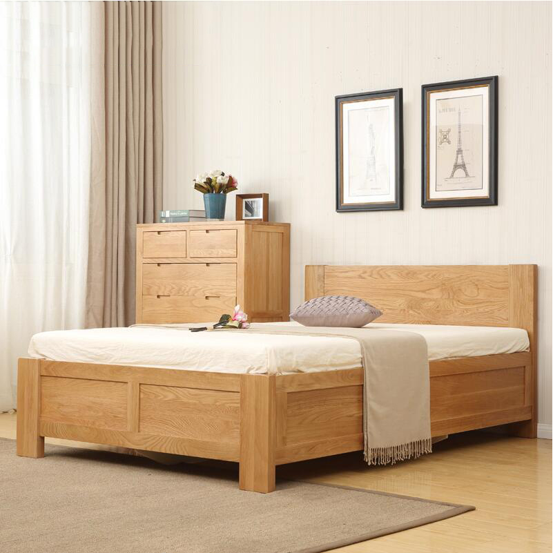 Japanese style furniture, solid wood bed, oak high box, storage bed, double bed, master bedroom, simple modern environmental protection furniture special price