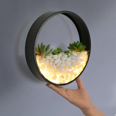铁艺壁灯 圆形led床头简约现代客厅卧室灯创意石子灯墙壁装饰灯具