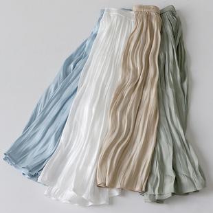 19春带光三色光泽感 百褶雪纺半身裙珍珠丝滑长款过膝半身伞裙女