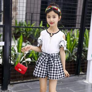 女童夏装套装洋气2018新款韩版儿童短裙裤两件套中大童亲子装潮衣