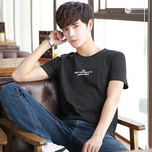 小清新夏季短袖t恤男时尚个性印花青年文字休闲舒适半袖潮打底衫