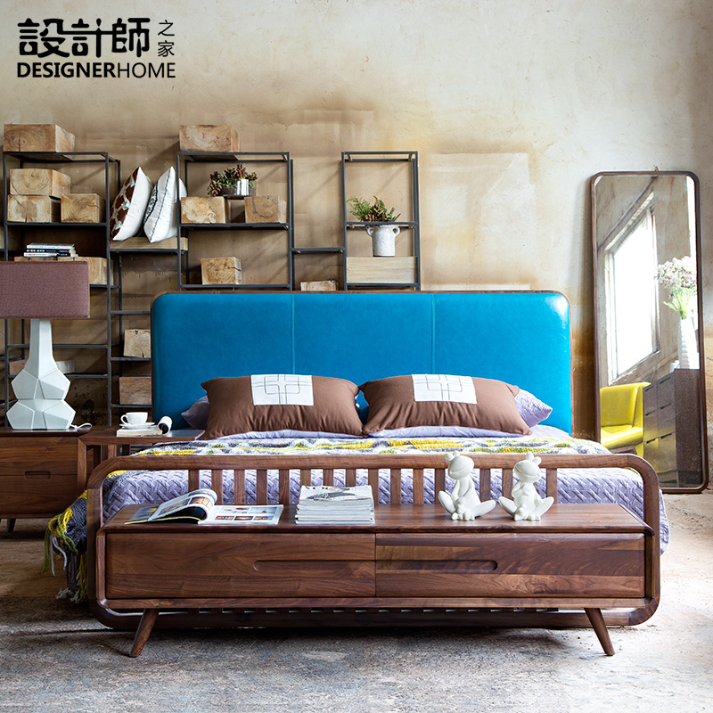 Nordic minimalist solid leather bed, North American black walnut, new Chinese double bed, simple bed bed 18