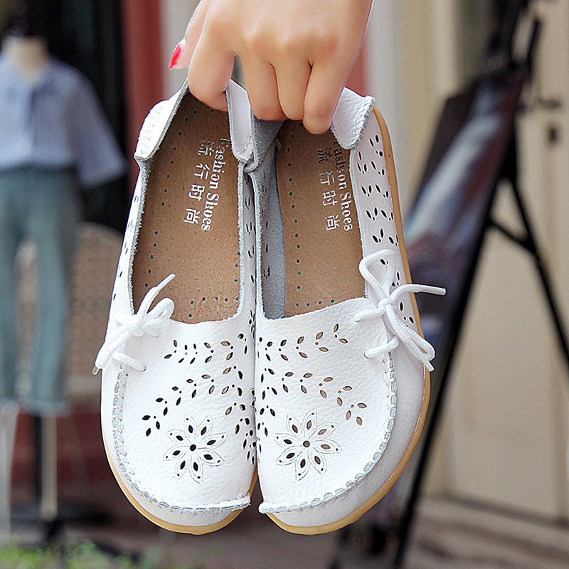 妈妈鞋夏季镂空透气洞洞鞋平底单鞋女凉鞋夏中老年真皮大码豆豆鞋