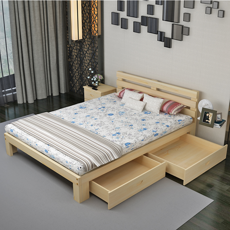 Solid wood bed, 1.51.8 meter double bed, simple 1.1 meter single bed, children's bed, economical rental house, special price