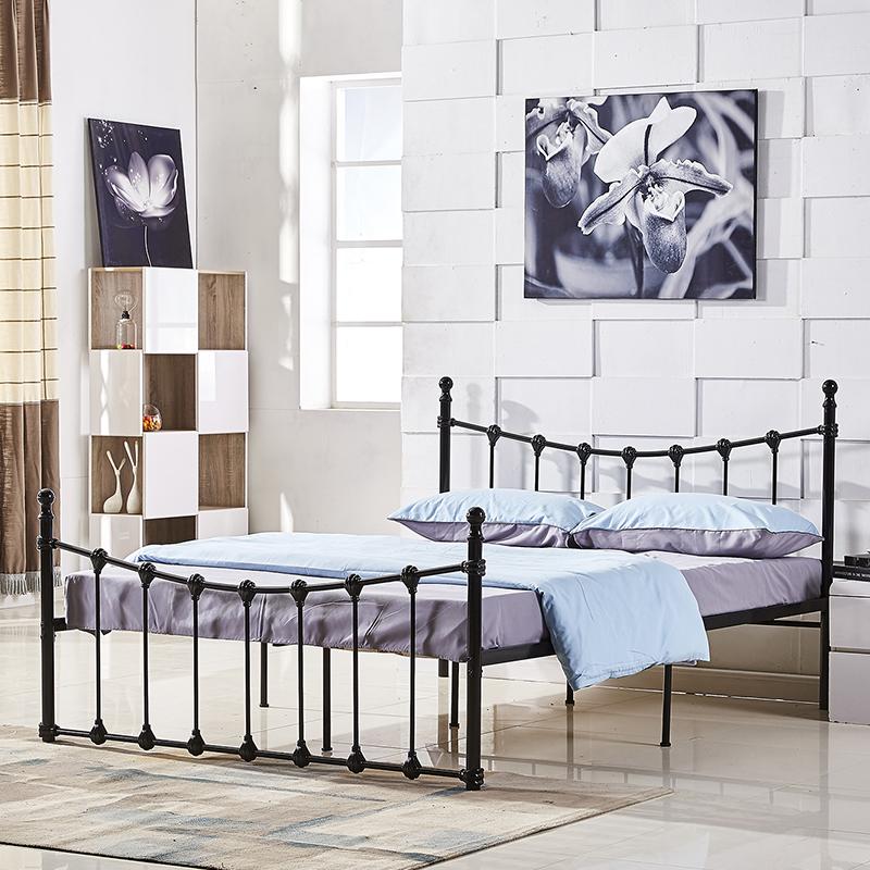 Европейский минимализм спальни квартиры арендного жилья железная кровать двуспальная кровать 1,5 брандрет 1.8m одноместный железная кровать 1,2 метров