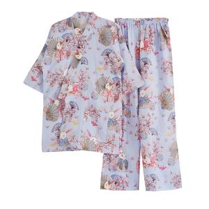 秋夏薄款日式和服睡衣女纯棉麻纱布浴衣套装卡通可爱家居服七分袖