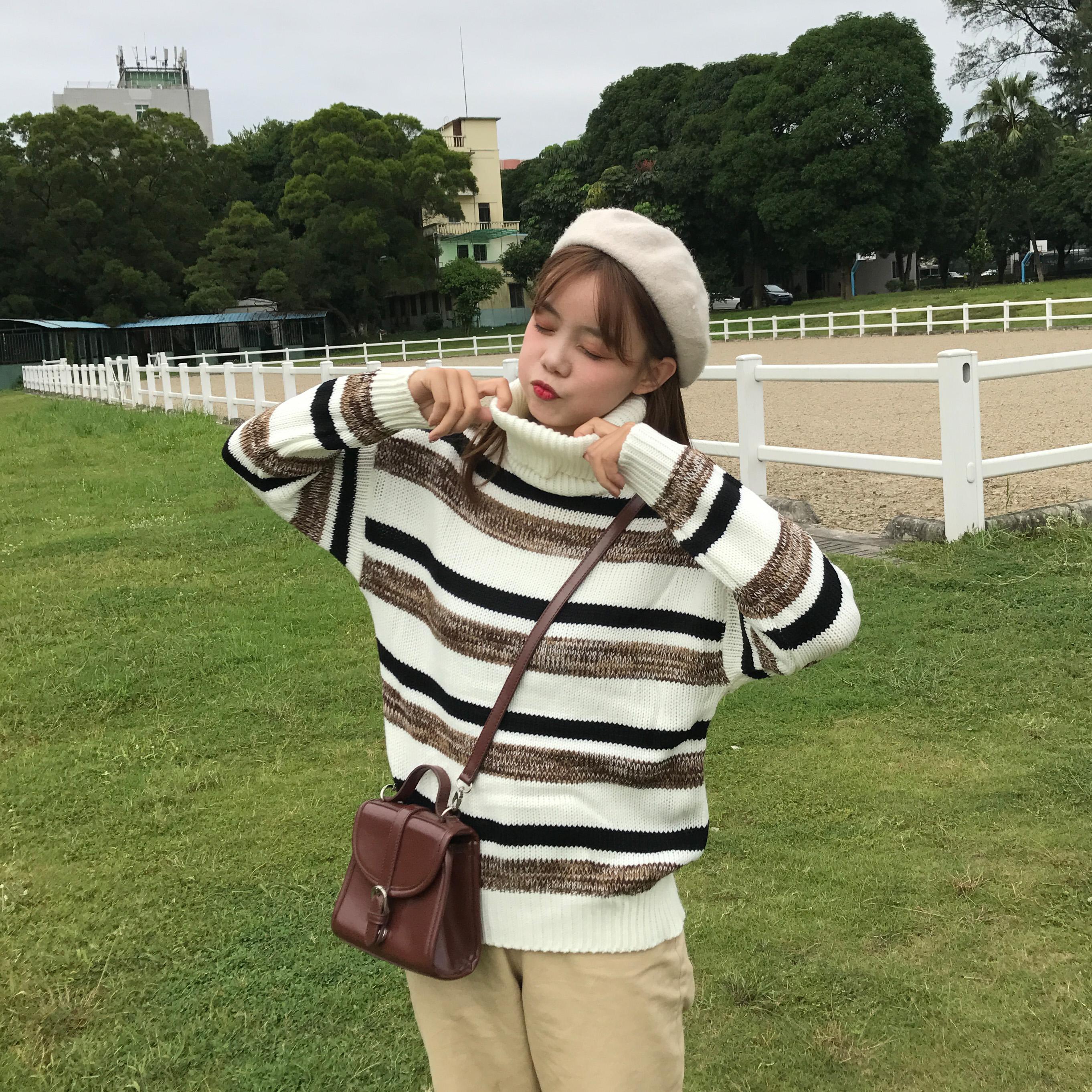 8369#实拍实价 2018秋冬新款韩版条纹撞色高领长袖套头毛衣女