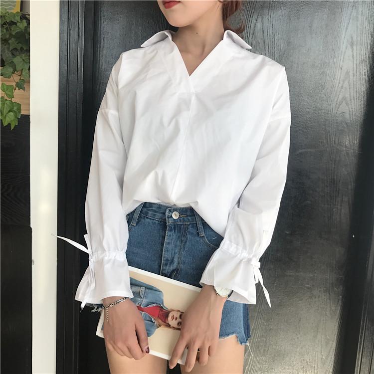 8392#实拍实价 韩版女装衬衣宽松时尚袖口系带上衣简约百搭衬衫