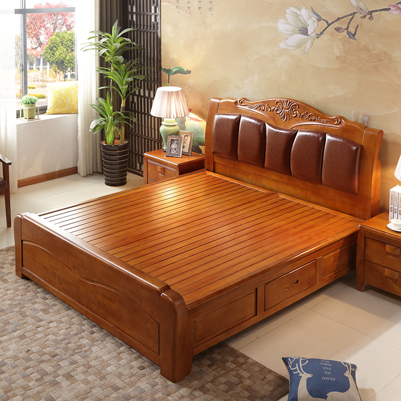 Continental all white, soft bed, rubber oak double bed, leather back, high box storage bed, wedding bed, solid wood bed