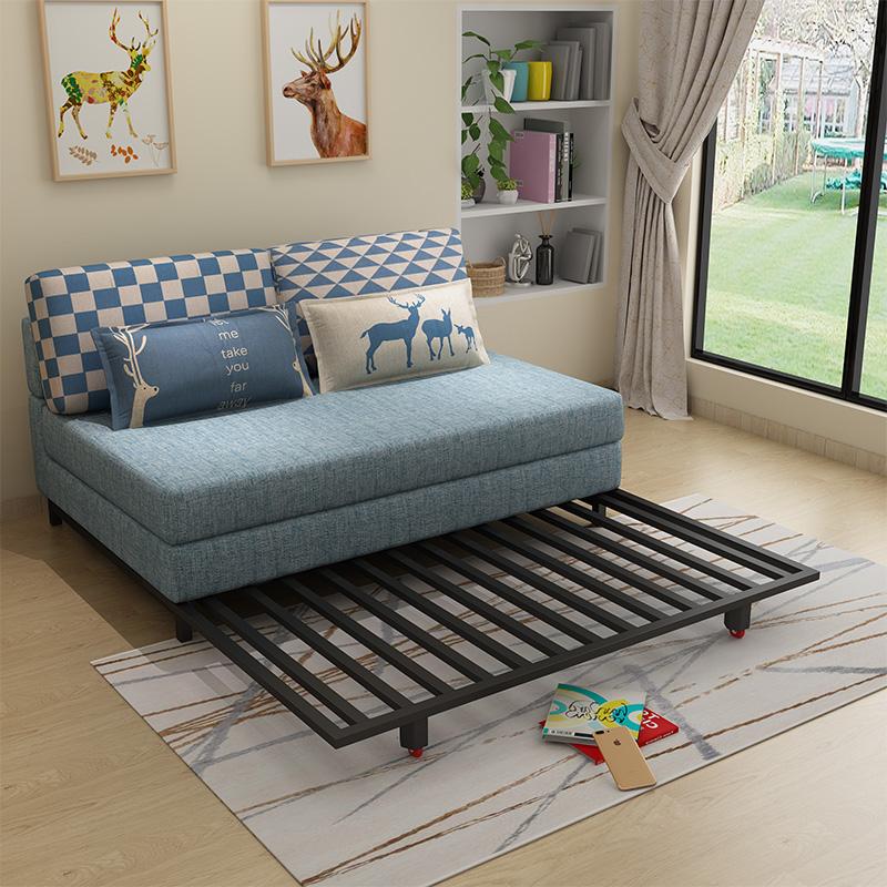 ラテックスのソファーベッドは折りたたみ式の客間のツインルームのツインルームのツインルームの2メートルの小型タイプのソファーの多機能は2メートルで1メートルです