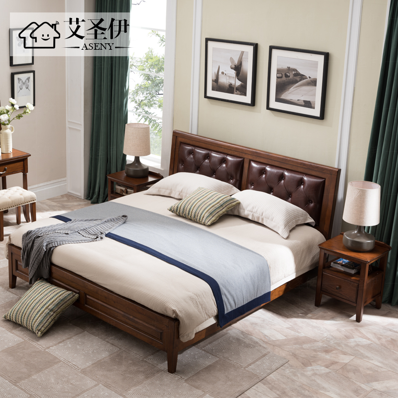 American style bed simple rural whole solid leather double bed 1.8 meters Nordic bedroom furniture European style marriage bed master bedroom
