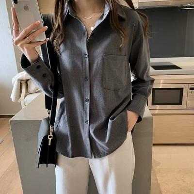 冬装女2019新款chic宽松慵懒风衬衫女长袖上衣简约纯色衬衣848#