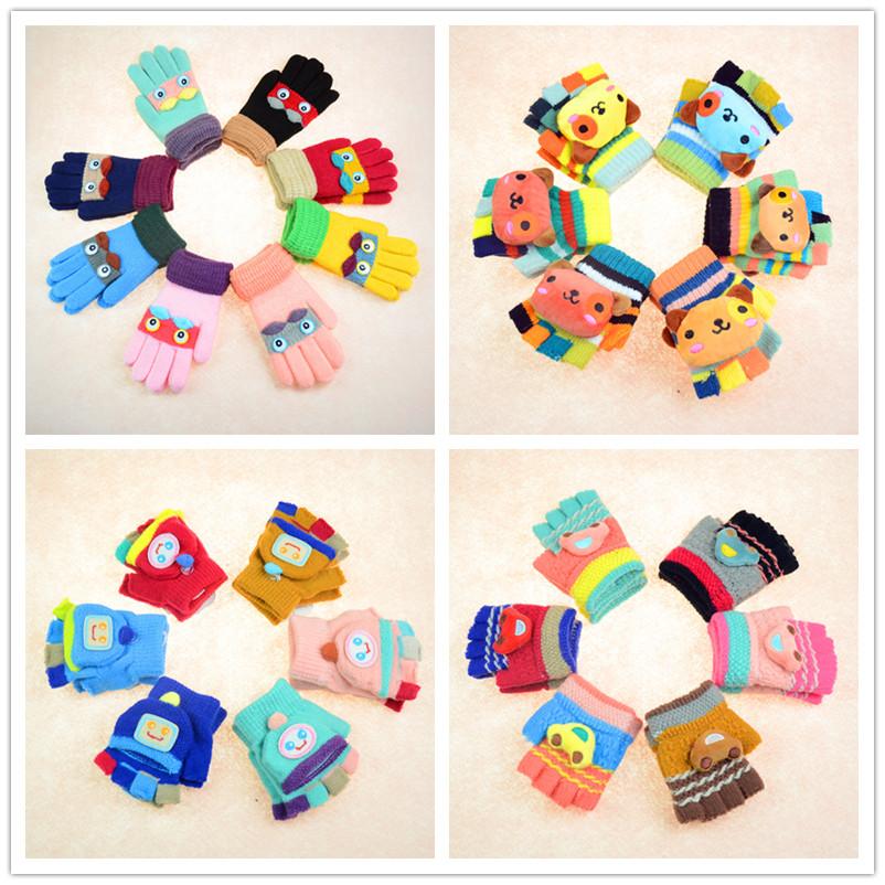 儿童手套保暖五指冬季加绒男童女童毛线分指宝宝学生婴儿半指连指