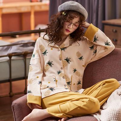 秋冬睡衣女长袖纯棉韩版开衫甜美可爱家居服可外穿春秋季两件套装