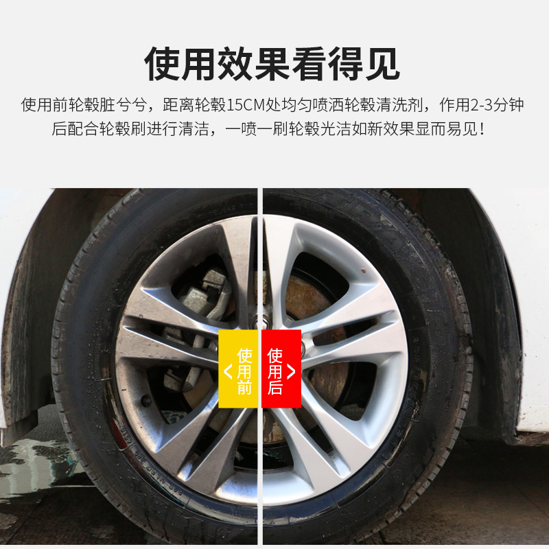 Wheel cleaning agent, rust remover, wheel iron powder cleaner, aluminum alloy rim cleaning agent, oxidation decontamination polishing