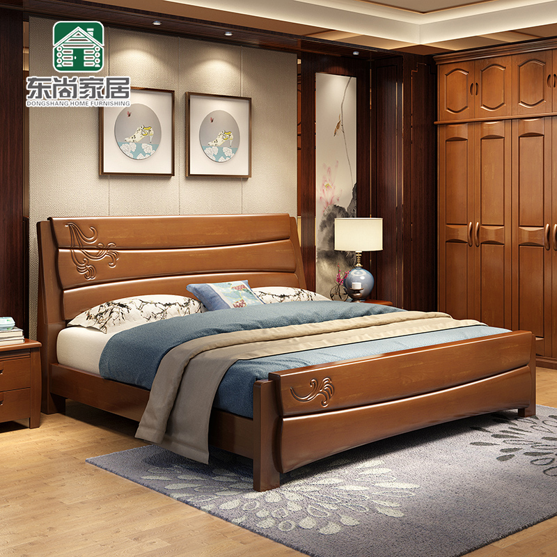 Simple modern wood double bed 1.8 meters, new Chinese style economy 1.5m storage high box bed master bedroom wedding bed