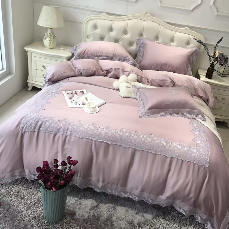 Austria imported 80 sides in four sets of silky Lenzing Tencel naked lace embroidery bedding in spring and summer