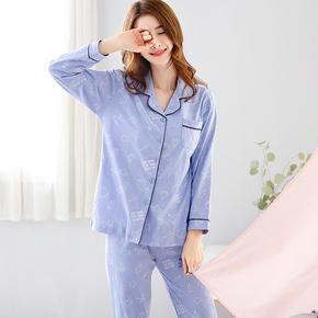 睡衣女士秋纯棉长袖韩版可爱休闲套装秋季可外穿全棉少女家居服