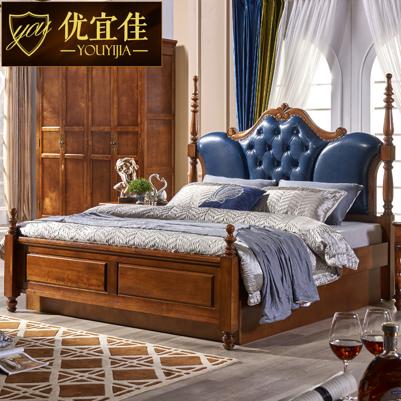 [full solid wood] American leather, soft bed, European style double bed, 1.5/1.8 meters bedroom, high box storage bed