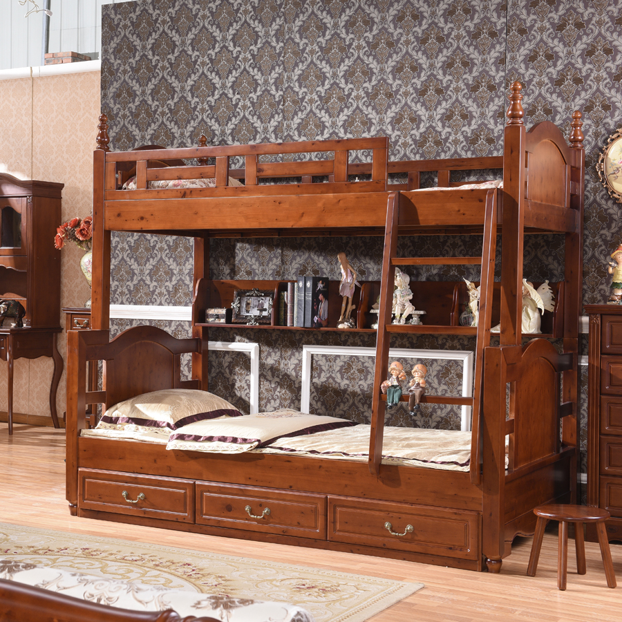 Pure European style solid wood bunk bed bed bed bed height child mother bed bunk bed full of cedar and