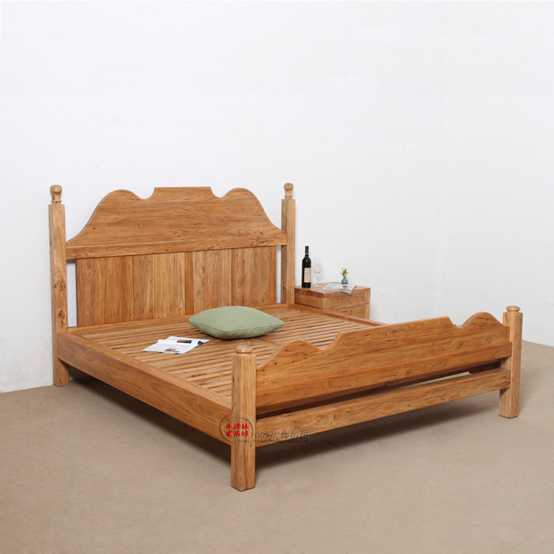The old elm wood double bed full of old elm furniture 1.8 double wedding bed pure wood