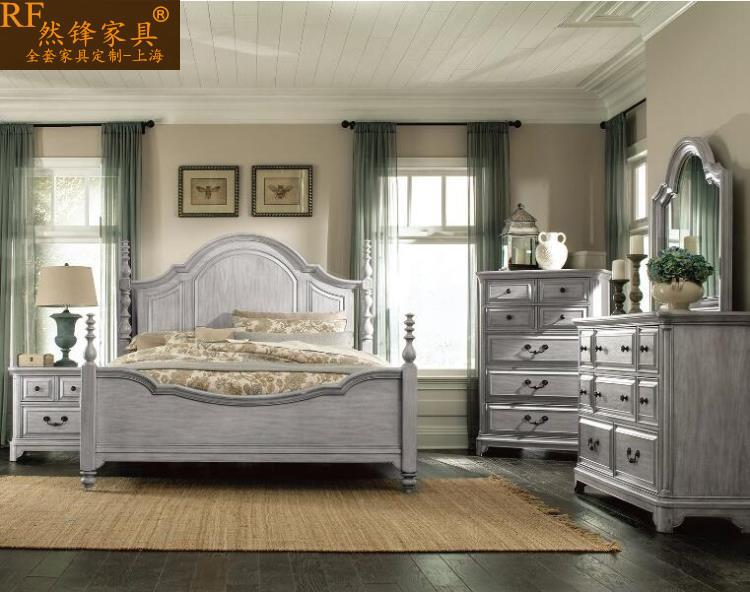 American style solid wood bed, European log, solid wood bed, oak wedding bed, double bed, 1.8 meter bed, all solid wood bed