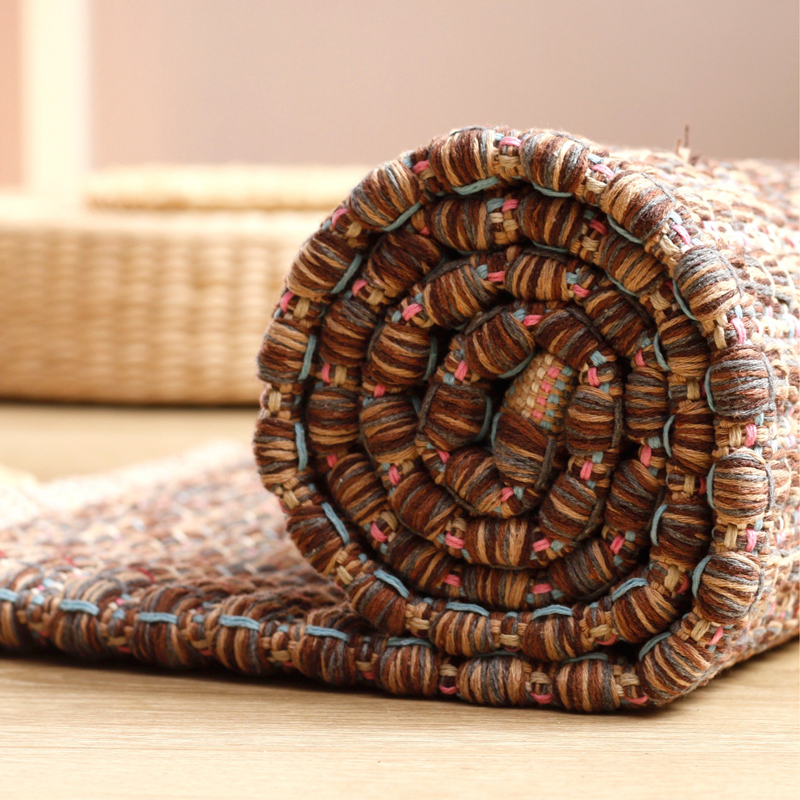 Cotton hand woven carpet coffee machine washable tatami mats mat bedroom bedside thickening