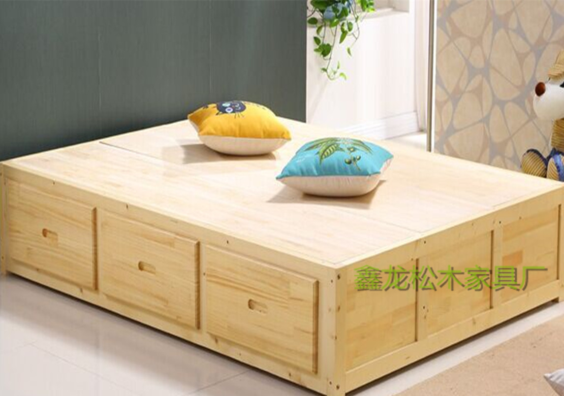 Guangzhou pine wood furniture formaldehyde free Japanese tatami platform bed cabinet custom Hongkong scale delivery and installation