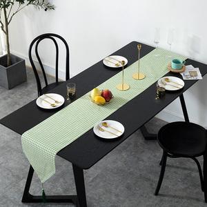 北欧中式日式棉麻现代简约小清新电视柜网红桌布艺床旗餐桌旗茶几
