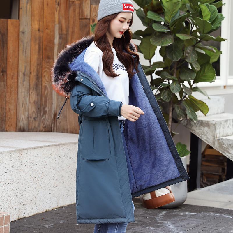实拍棉衣女冬装新款韩版中长款带毛领加厚修身羽绒棉服女棉袄外套