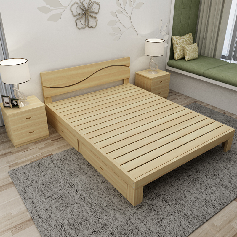 A simple wooden bed 1.5 tatami bed 1 meters 1.2 meters of adult children bed single bed double bed 1.8 meters pine