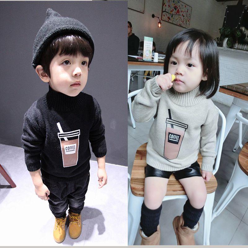 儿童毛衣男童加绒加厚半高领女童黑色毛衣宝宝小孩毛衣男打底衫